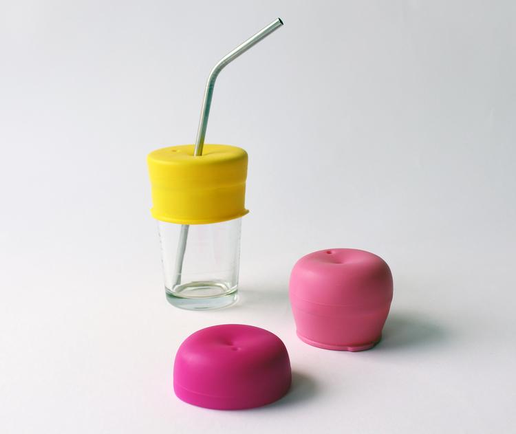 Silikonlock till dricksglas hål för sugrör - Sipsnap KID rosa
