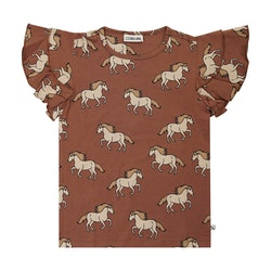 Tshirt med volangärm - Vildhästar 86-152cl