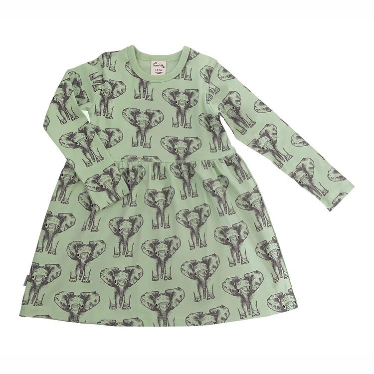 Barnklänning långärmad - Elefanter 1-6år