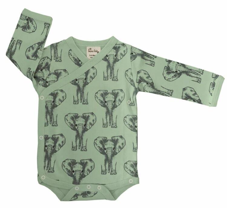 Omlottbody baby - Elefanter 0-12mån