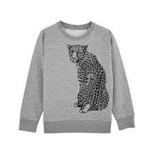 Sweatshirt barn - Grå med leopard - 5-6år