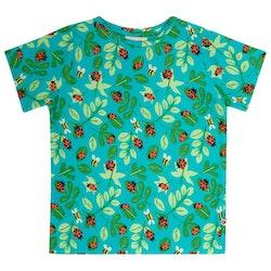 Kortärmad Tshirt mönstrad med Nyckelpigor - 12mån-6år