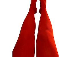 Barnstrumpbyxor Körsbärsröd- med halkskydd 1-10år
