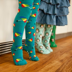 Paraply! Ekologiska barnstrumpbyxor med halkskydd 0-6mån. 12-18mån