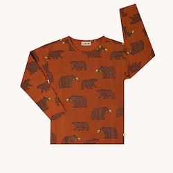 Långärmad barntröja rostbrun grizzly - 86-152cl