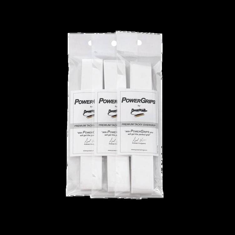 PowerGrips Premium Tacky Overgrip vit, 3-pack