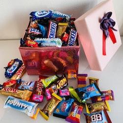 Rosa box fylld med godis