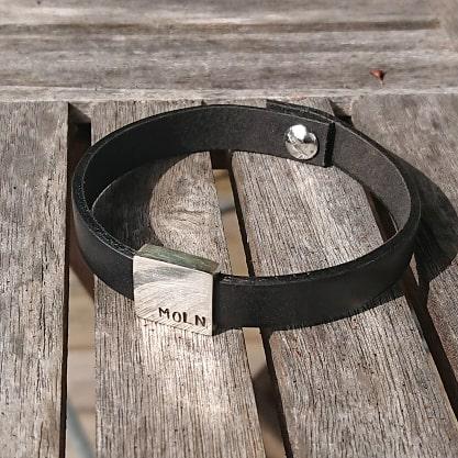 Läderarmband 'Rektangel'