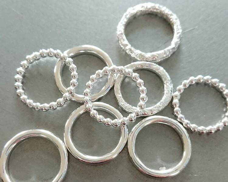 Handgjord silverring Mixa Struktur 3 mm
