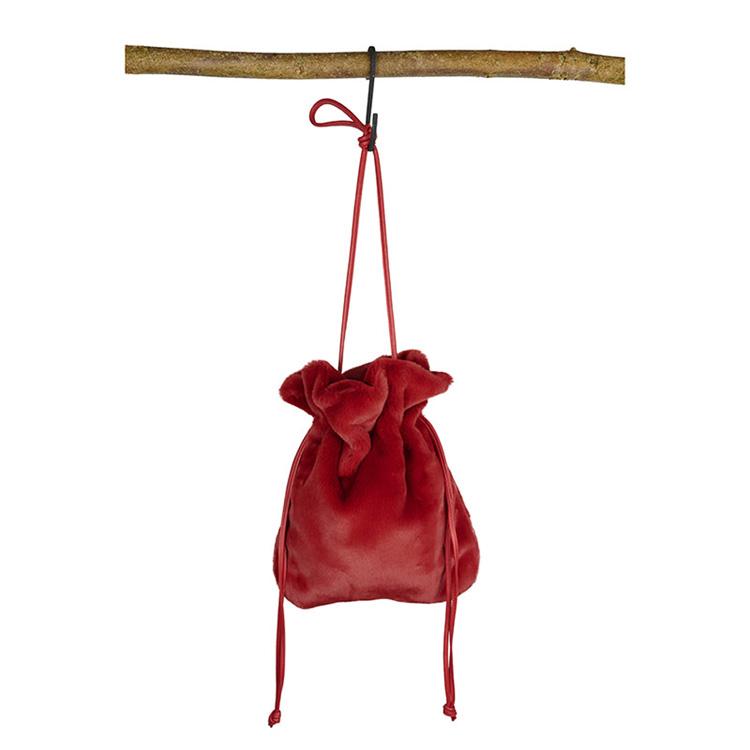 Red handbag in faux fur