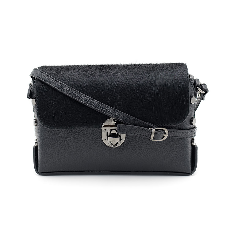 Black leather handbag with cowhide