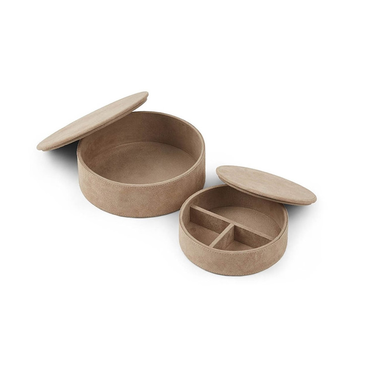 Natures Collection Round Leather Box Set of 2 pcs Taupe