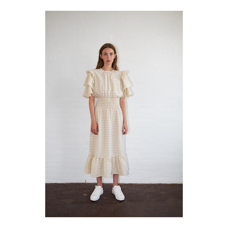 lång rutig klänning