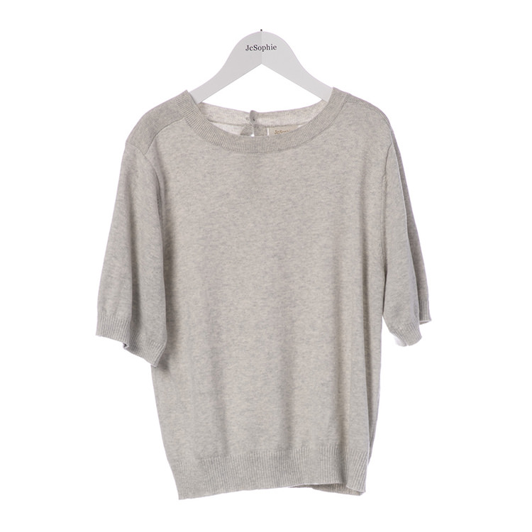 Grey short sleeved sweater in a soft cotton knit