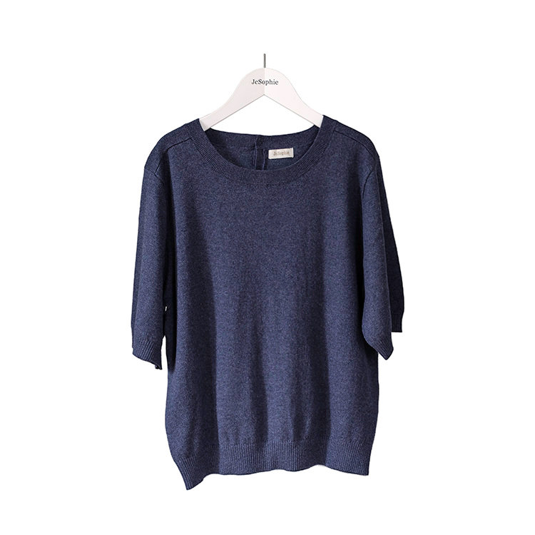 Midnight blue short sleeved sweater in a soft cotton knit