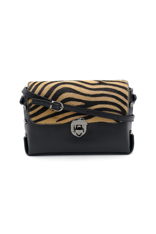 Black leather handbag with brown zebra printed cowhide