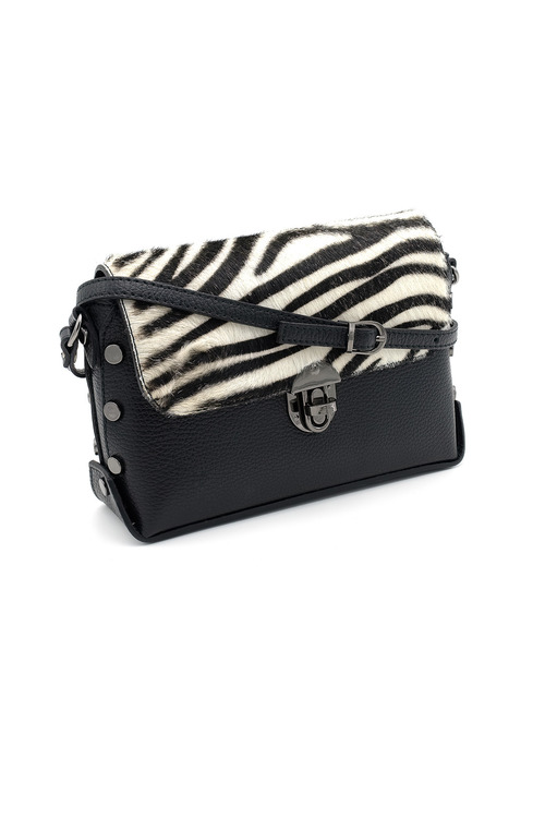 Black leather handbag with zebra print cowhide