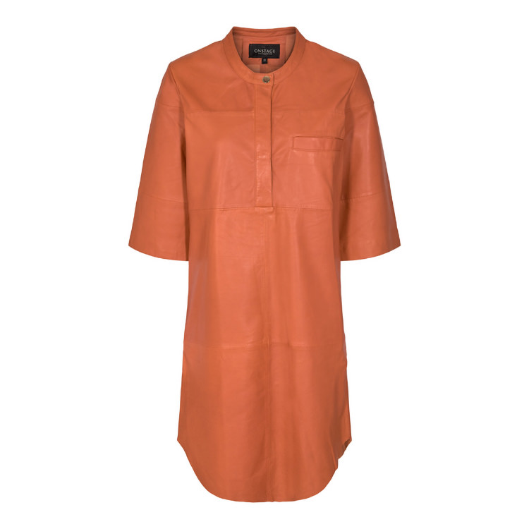 ONSTAGE Collection orange leather dress