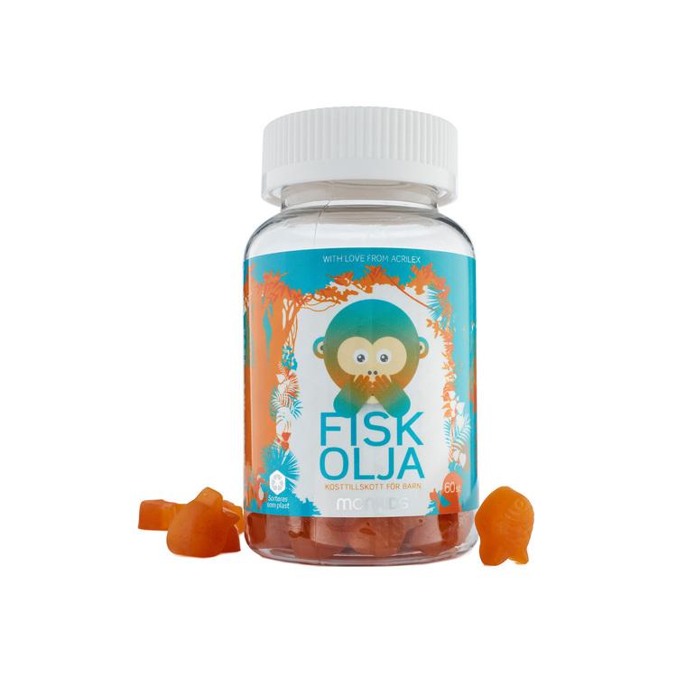 Monkids Fiskolja, 60 tuggtabletter