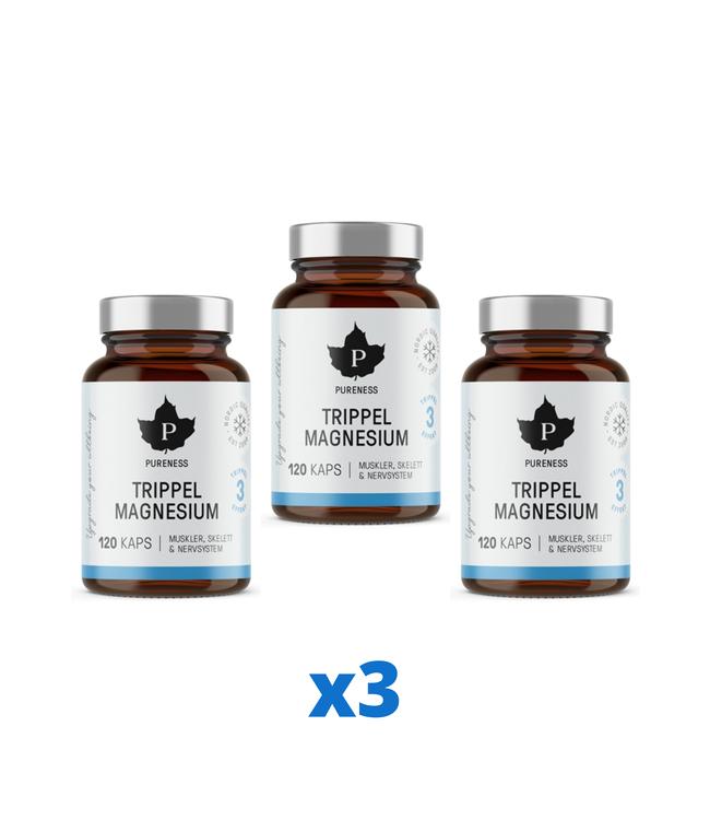 3 x Pureness Trippel Magnesium, 120 kapslar