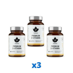 3 x Pureness Premium D-Vitamin, 60 kapslar
