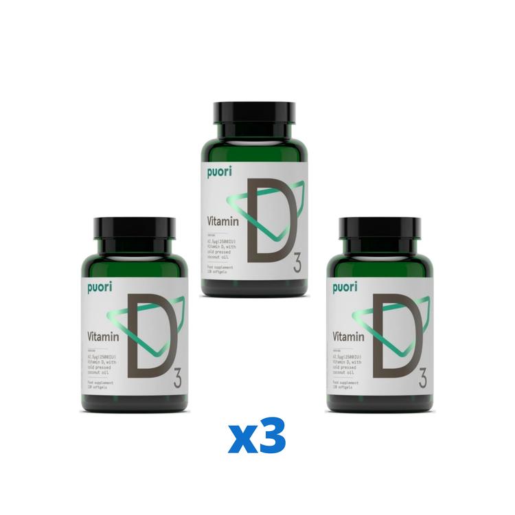 3 x Puori D3-vitamin 2500IE, 120 kapslar