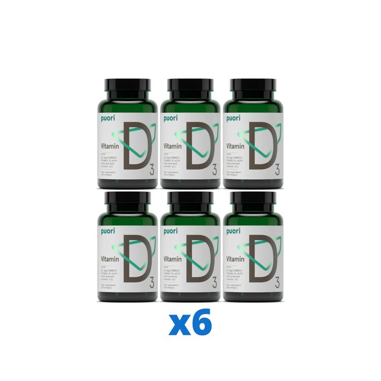 6 x Puori D3-vitamin 2500IE, 120 kapslar