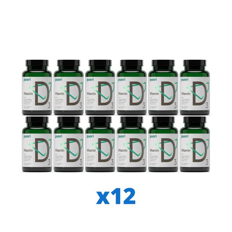 12 x Puori D3-vitamin 2500IE, 120 kapslar