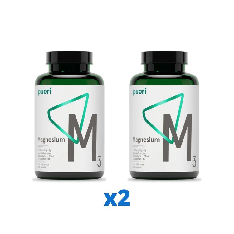 2 x Puori M3 Magnesium & Zink, 180 kapslar