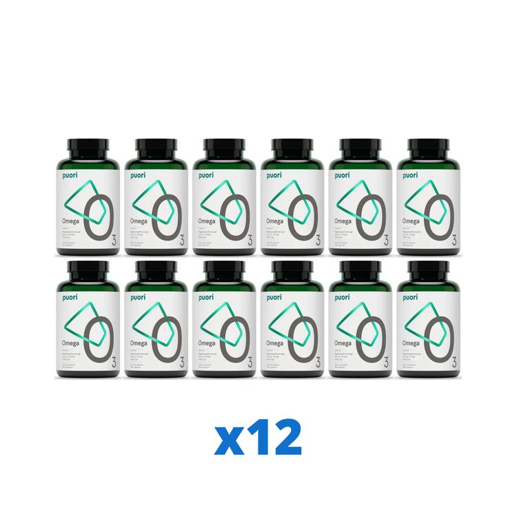 12 x Puori O3 Omega-3, 180 kapslar