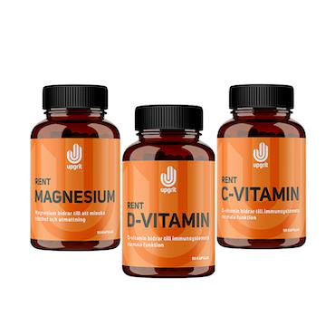 Upgrit Lyckopaketet - Rent Magnesium + C-vitamin + D-vitamin