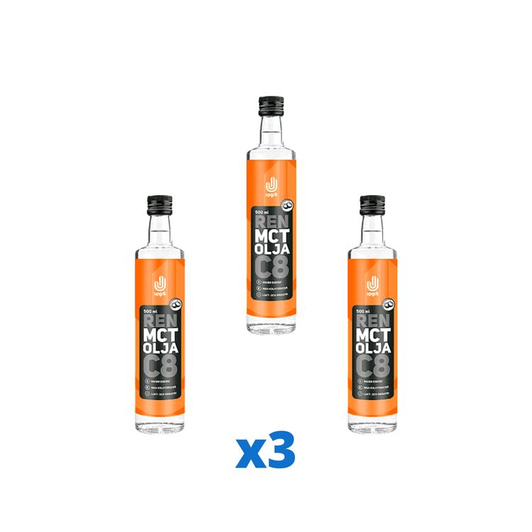 3 x Upgrit Ren C8 MCT-olja, 500 ml