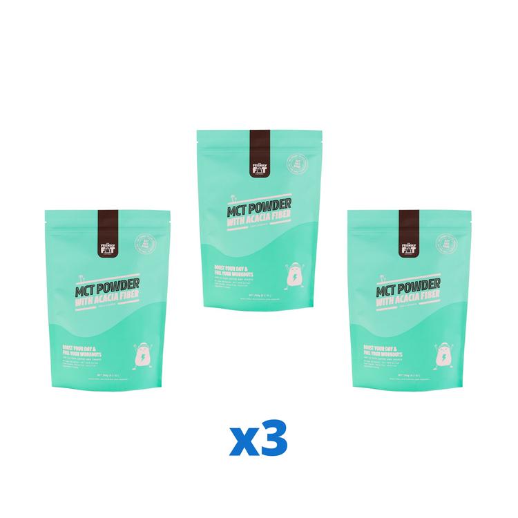 3 x The Friendly Fat Company C8 MCT Powder with Acacia Fiber, 260g