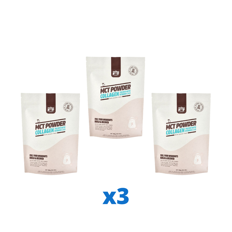 3 x The Friendly Fat Company MCT Powder Collagen, 300g + Vitamin C & D 300 g