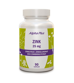 Alpha Plus Zink 25mg, 90 kapslar