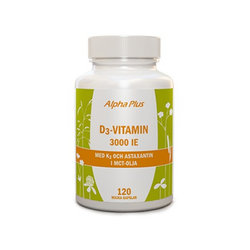 Alpha Plus D3-vitamin 3000IE + K2, 120 kapslar
