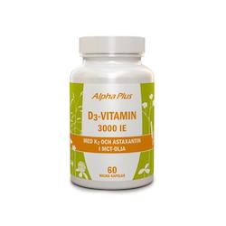 Alpha Plus D3-vitamin 3000IE + K2, 60 kapslar