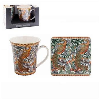 William Morris Peacock Presentset Mugg och Coaster