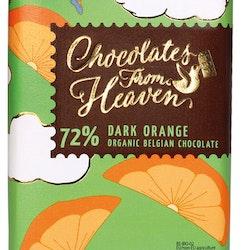 Chocolates from Heaven, 72 % Mörk choklad med apelsin, Fairtrade & Ekologisk