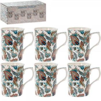 6 muggar Orientalisk Paisley