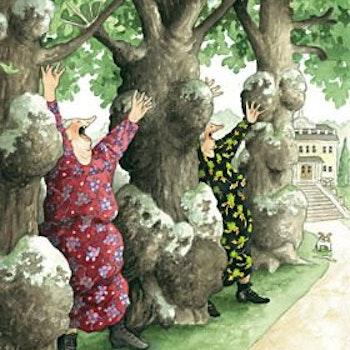 """Vykort Inge Löök """"I rad (mellan träd)"""""""
