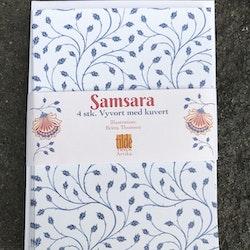 Samsara - blå blad - 4 st kort med kuvert