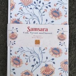 Samsara - blomma - 4 st kort med kuvert