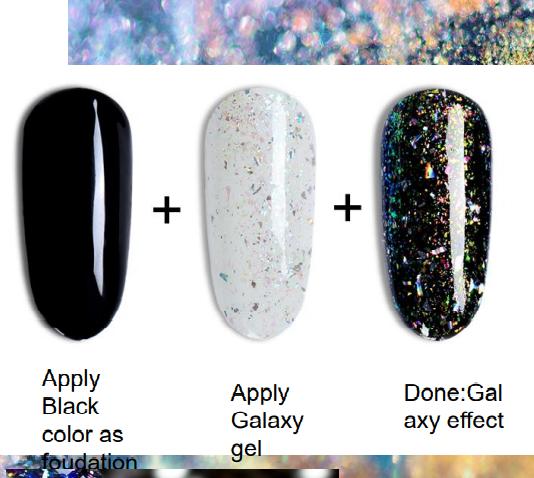 Galaxy glitter gel, polish gel, färgade lacker