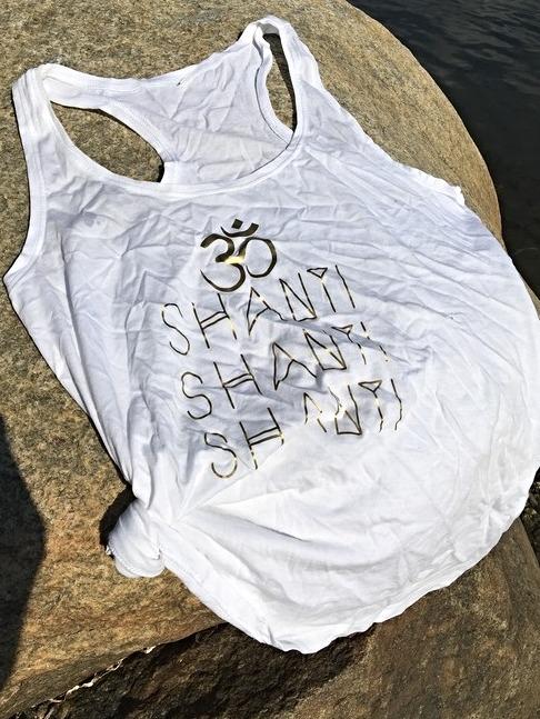 OM SHANTI - RACERBACK TANK - WHITE