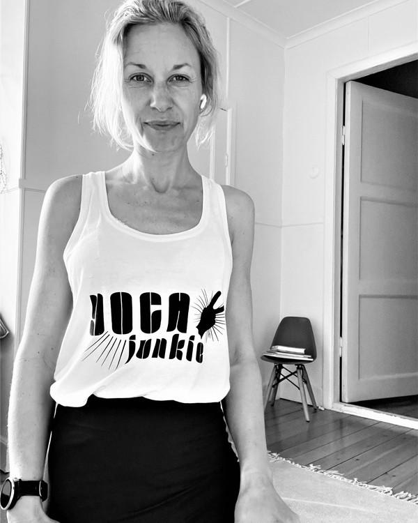 YOGA JUNKIE - RACERBACK TANK - WHITE