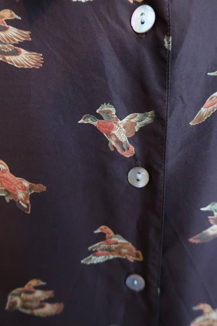 Brun sidenskjorta med änder