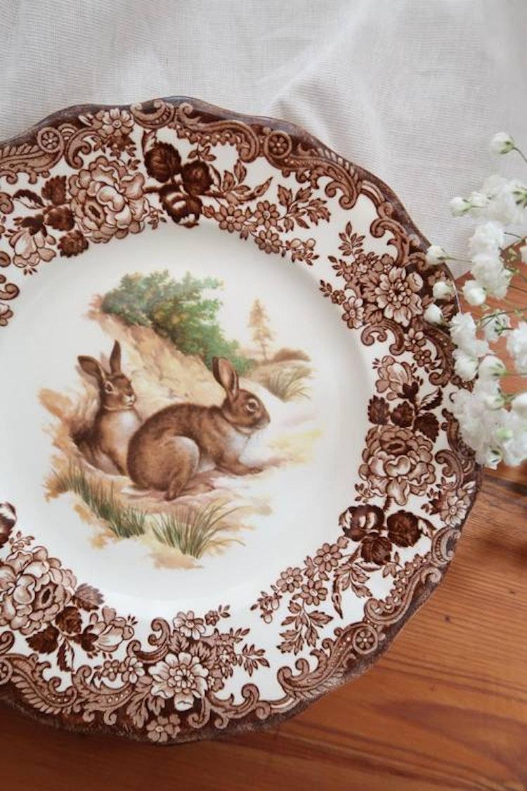 Brun tallrik med kanin