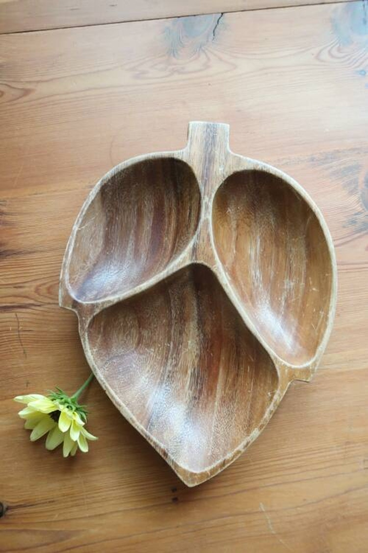 Träskål med tre fack
