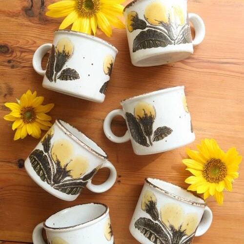 Sex muggar med gula blommor
